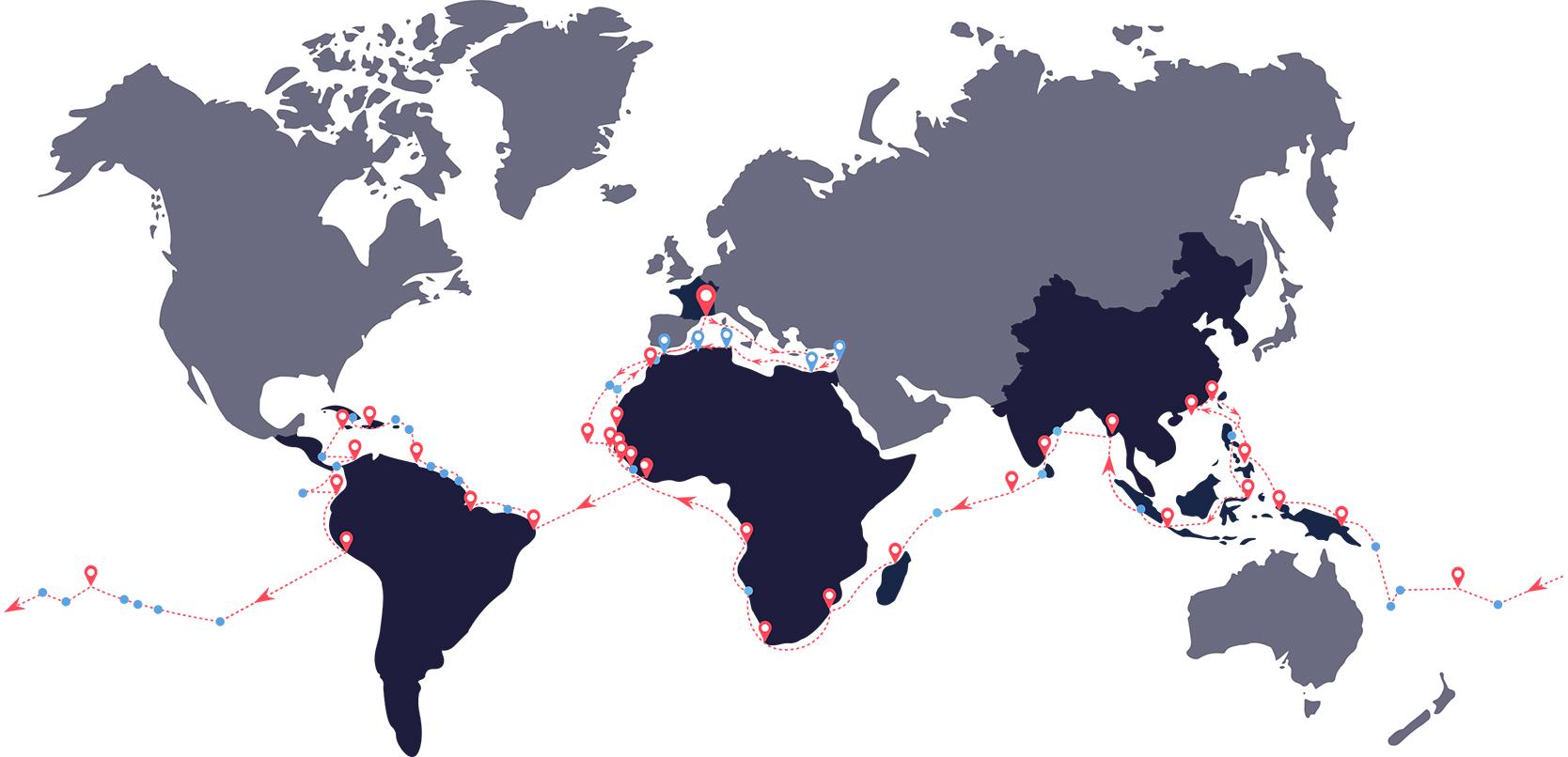 Carte de l'expédition autour du monde de Plastic Odyssey